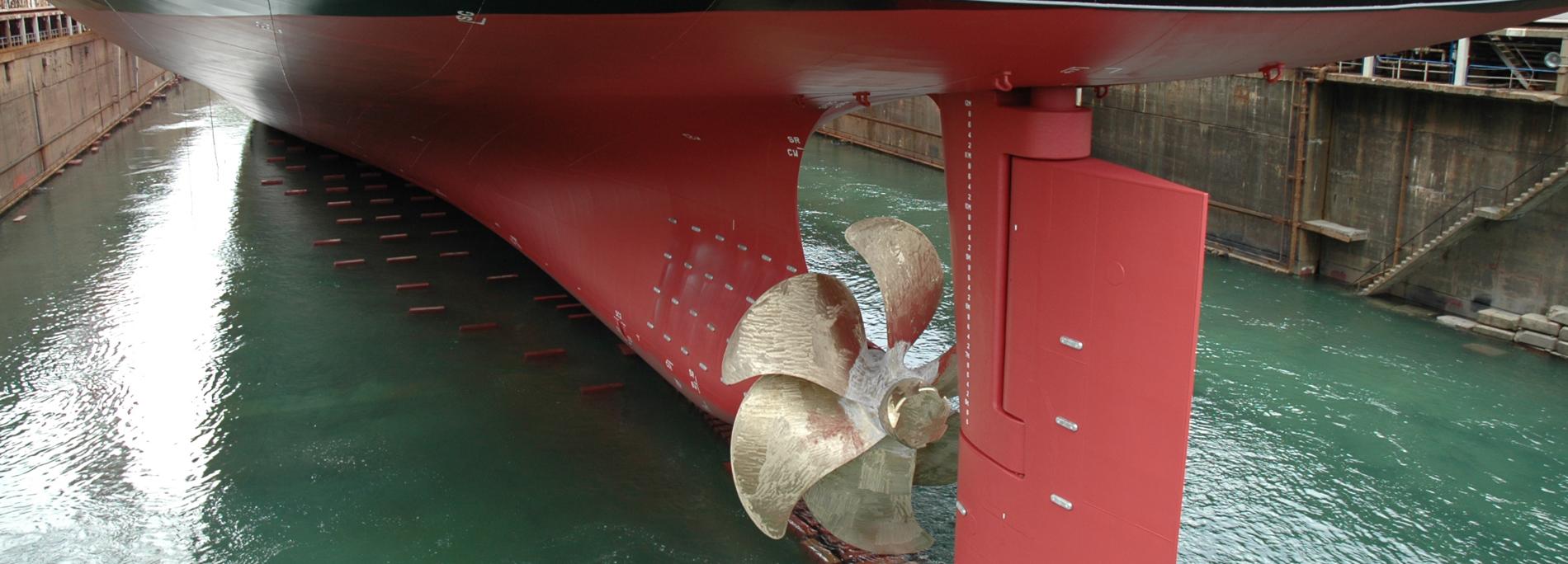 ドライドック出渠時の漲水時のプロペラ部分
